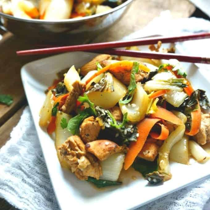 15 Minute Stir Fried Chicken And Bok Choy A Mind Full Mom