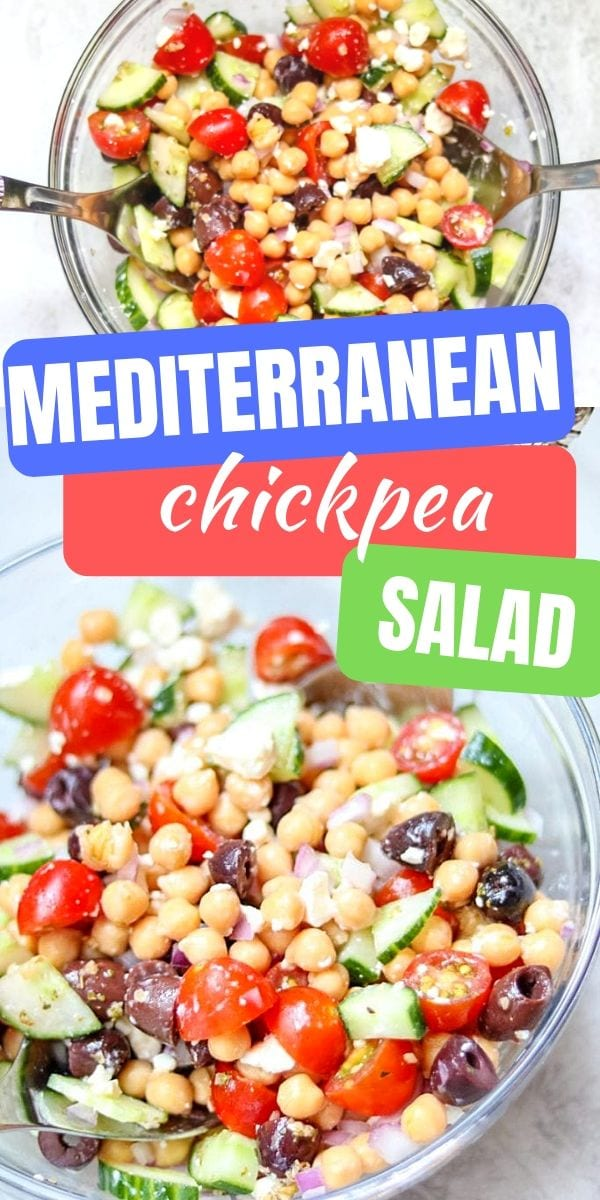 This simple and healthy Chickpea Salad recipe takes less than 20 minutes to prepare and is packed with Mediterranean flavors! This healthy salad makes a great side dish, filling for a wrap for lunch, and even works as a hearty dip when served with pita chips!