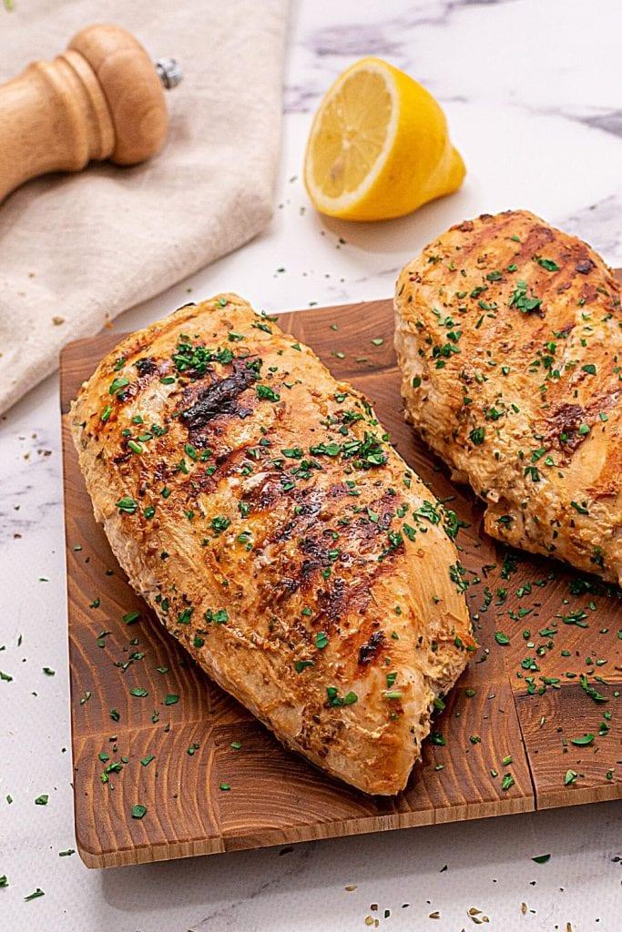 Grilled Greek Chicken on cutting board