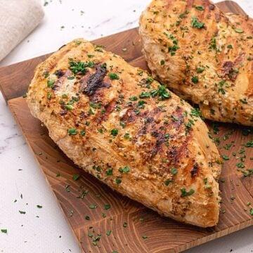 Greek Chicken on Cutting Board