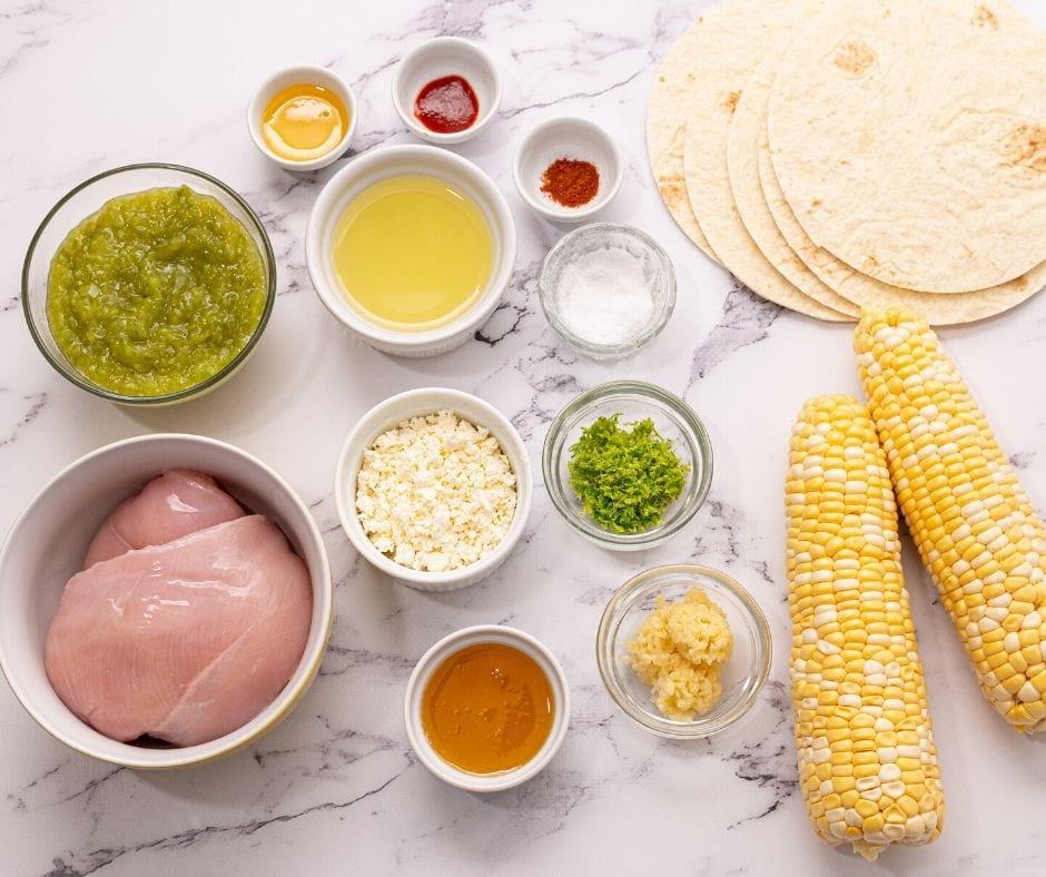 Ingredients for honey lime fajitas