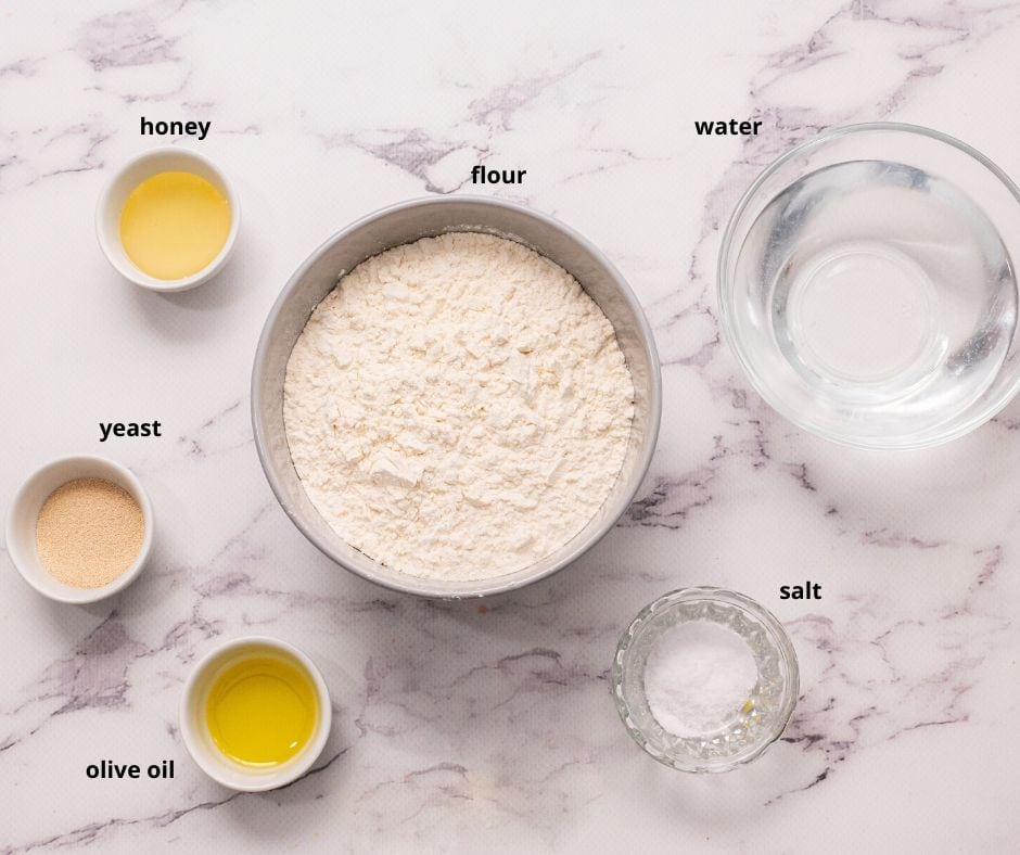 Ingredients for Homemade Pizza Dough on counter