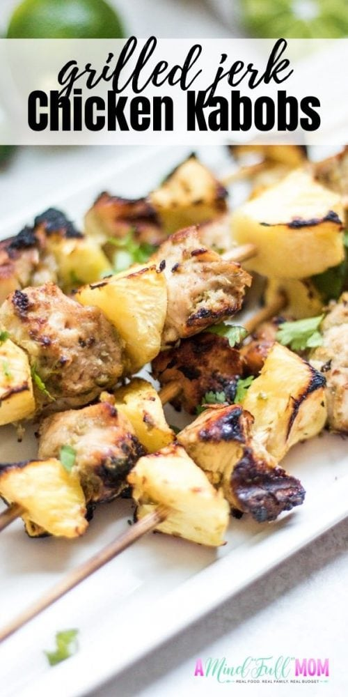 These Grilled Chicken Kabobs make a delicious and easy dinner any night of the week. Made with chicken breast that has been seasoned with a homemade jerk marinade and then threaded with fresh pineapple and grilled for a perfectly sweet and spicy Chicken Kabob recipe.