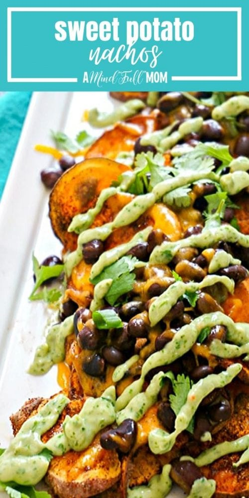 Spiced, baked Sweet potato rounds become the base for healthy nachos. They are topped with black beans, cheese, and a healthy drizzle of avocado cilantro cream that is to die for.