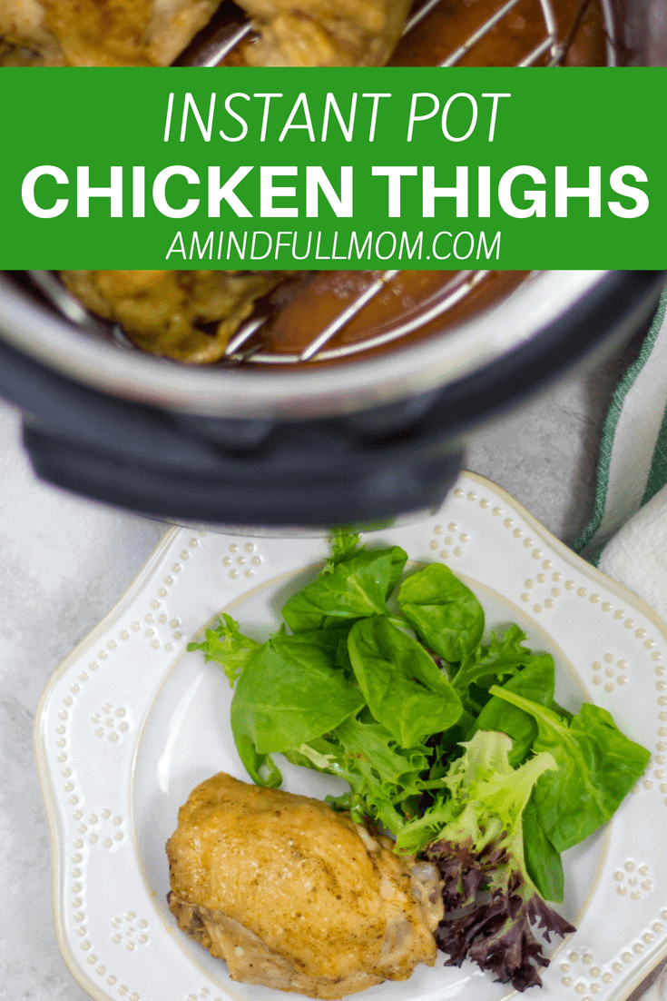 Instant Pot Chicken Thighs: Perfectly cooked chicken thighs made in your electric pressure cooker. This recipe shows you how to achieve crispy skin even when cooking FROZEN chicken thighs.  #chickenrecipe #instantpot #pressurecooker #glutenfree #paleo #whole30