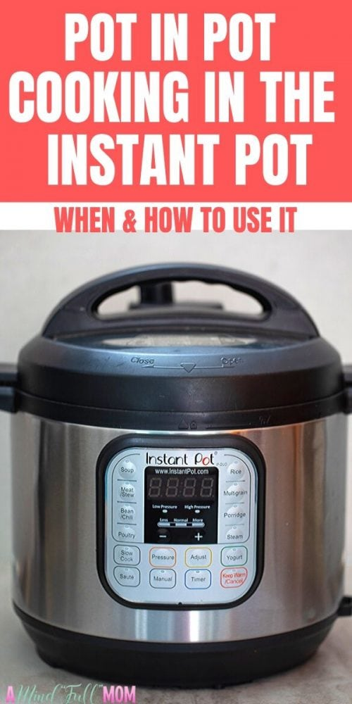How to properly use the method Pot in Pot, or PIP, in the Instant Pot. This technique explains how and WHEN to use pot in pot cooking in the Instant Pot. PIP is the method of cooking using a separate pot inside your inner pot in the Instant Pot. This technique is used for baking in the instant pot, dishes that are rich in dairy, or to cook more than one recipe at a time inside your pressure cooker.