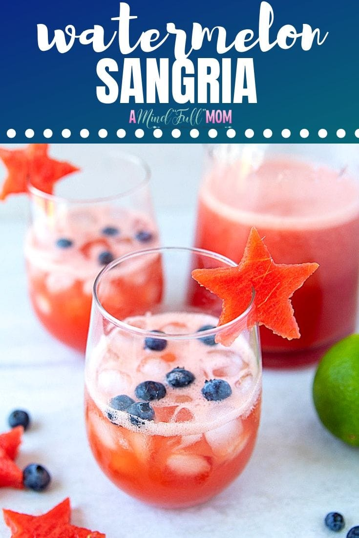 Watermelon Sangrias make the perfect summer or patriotic drink! Made with fresh watermelon and lime juice and a crisp white wine, these summer cocktails are refreshing and fun! #sangria #watermelon #cocktail #summer #4thofjuly #redwhiteandblue #memorialday