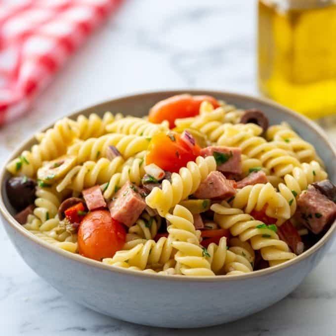 Easy Antipasto Pasta Salad Italian Pasta Salad A Mind Full Mom