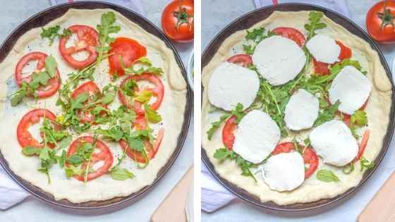 Collage of Steps to Make tomato pizza