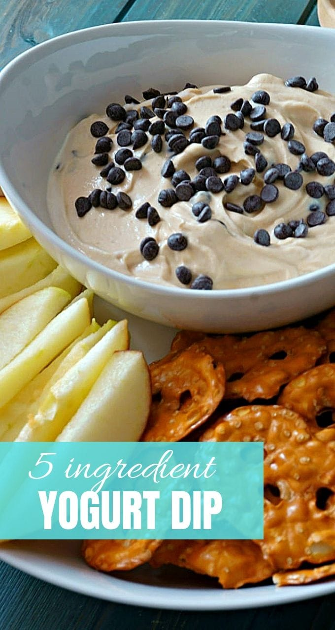 5 ingredients and 5 minutes is all you need to make this Peanut Butter Yogurt Dip! Perfect for pretzels or fruit! Buckeye Dip makes an insanely easy and delicious football recipe!