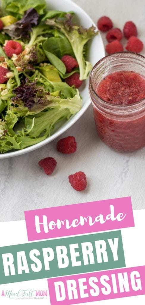An easy homemade salad dressing perfect for a variety of salads! It is an easy raspberry vinaigrette dressing made with fresh raspberries that are both sweet and savory at the same time. This raspberry dressing for the salad is low fat and naturally sweetened!