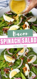 A classic favorite for entertaining or to compliment a meal! This spinach salad with bacon dressing is rich in flavor and so simple to make. You will love this spinach salad with bacon and hard-boiled eggs. Have this healthy spinach salad for dinners!
