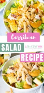 Fresh, hearty, and healthy Carribean Salad recipe! This Carribean chicken salad is paired with fresh mangoes, pineapple, mandarin oranges, and orange vinaigrette. Make this salad filled with fresh produce, flavor, and tastes like a tropical vacation!