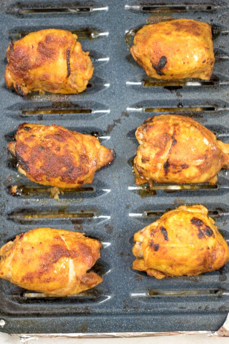 BBQ Chicken Thighs on Broiler Pan with Homemade BBQ Sauce