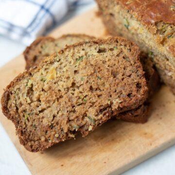 Sliced Zucchini Bread on cutting board