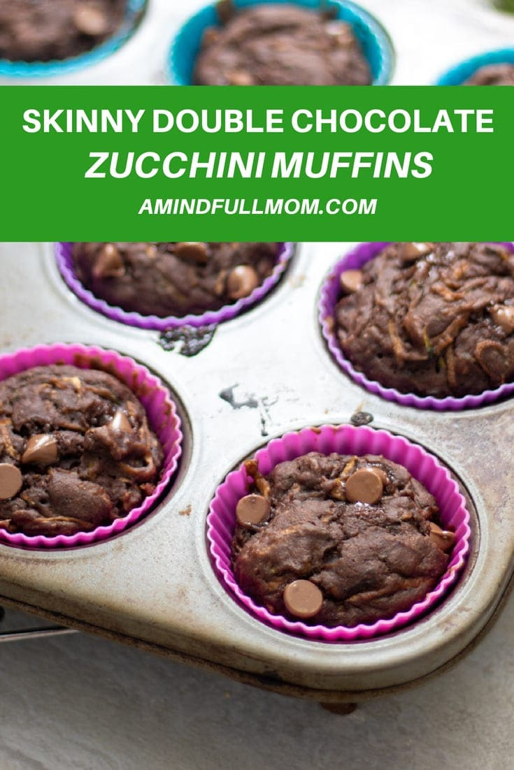 There is less than 100 calories per muffin in these Skinny Double Chocolate Zucchini Muffins. This recipe is easy, low fat, whole grain, protein packed, refined sugar free, and full of veggies. Plus kids LOVE them! #zucchini #muffins #chocolate #lowfat #kidfreindly