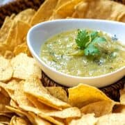 Homemade Salsa Verde in White Bowl with Chips