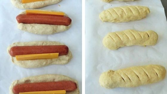 Steps showing how to roll pretzel dough around hot dogs