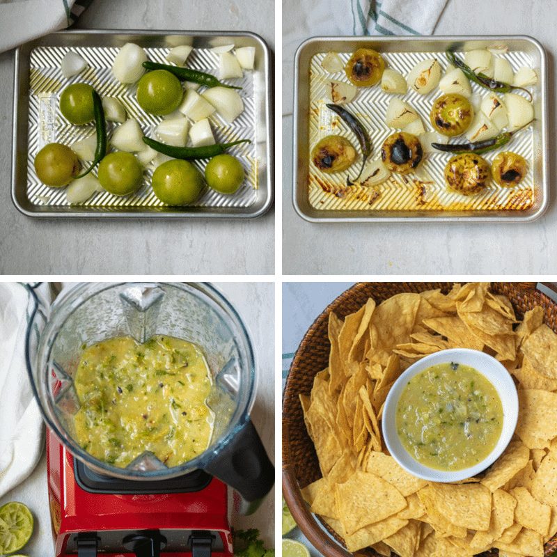 Step By Step Pictures of Roasting Tomatillos for Salsa Verde