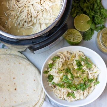 Bowl of Instant Pot Shredded Mexican Chicken