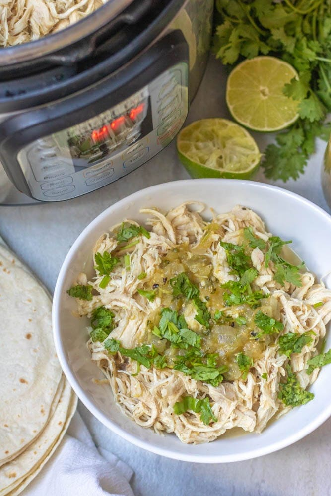 Shredded Chicken Breast next to instant pot