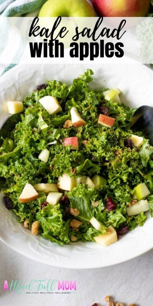 By using a few pro-tips, you can make the most delicious, tender, flavorful Kale Salad. This is a simple recipe for a Kale Salad made with a sweet and tangy dressing that is massaged into fresh kale and then tossed with apples, raisins, and walnuts. It is easy to make, full of great texture, and packed full of nutrients.