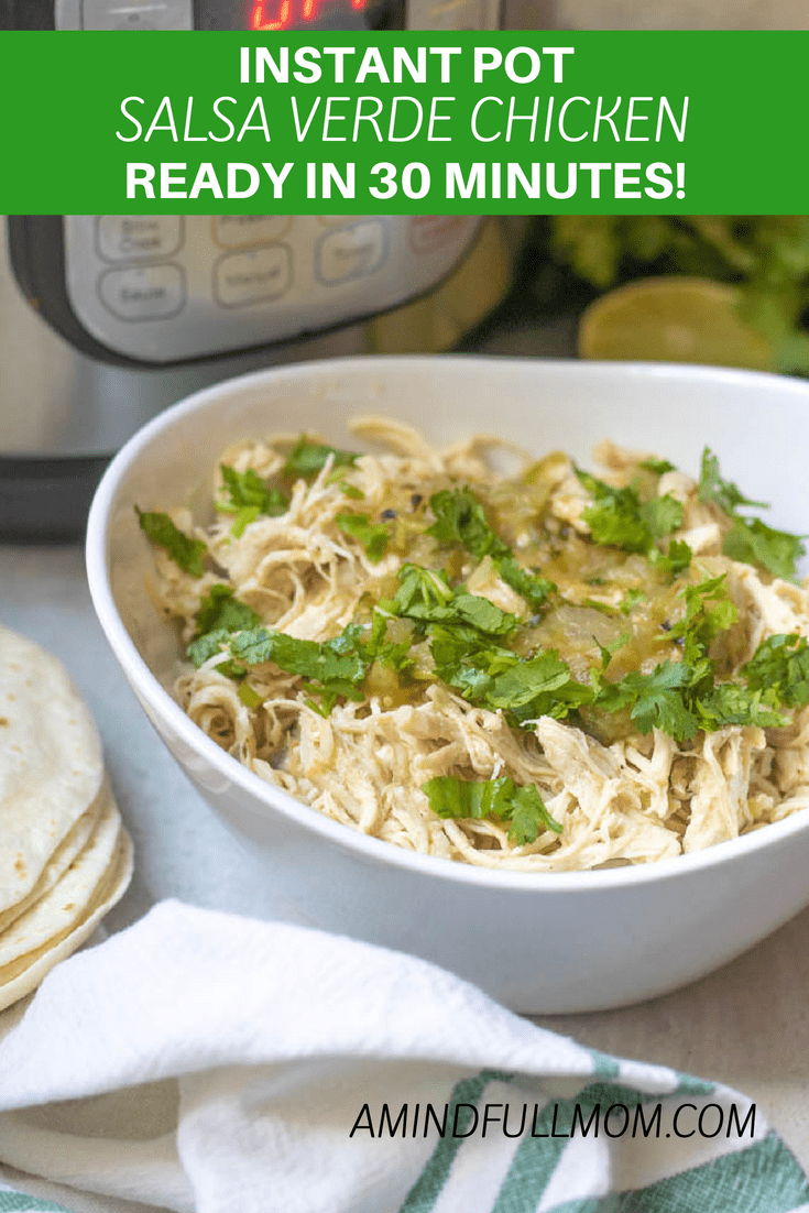 Instant Pot Salsa Verde Chicken: An easy recipe for Salsa Verde Chicken. This delicious instant pot recipe for Mexican shredded chicken breasts is perfect to use in salads, tacos, enchiladas, or wraps! This will be your go to Mexican Chicken recipe. #instantpot #chickenrecipe #glutenfree #Mexican