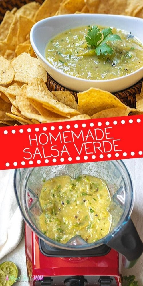 A simple recipe for PERFECT Tomatillo Salsa using fresh tomatillos. This Homemade Salsa Verde is bright, fresh, slightly acidic, and perfectly balanced. Homemade Salsa Verde is a million times better tasting than anything purchased at the grocery store. While it is delicious served with chips, it is also great in Enchiladas and on tacos.