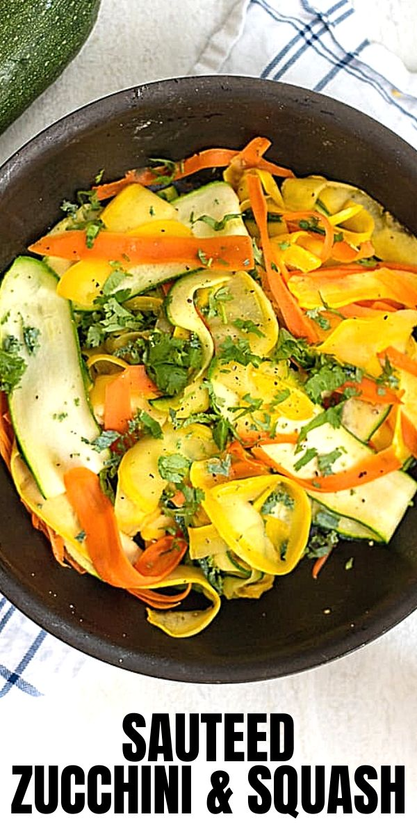 It does not get much easier than this simple recipe for Sauteed Zucchini and Squash. Fresh zucchini, yellow squash, and carrot ribbons are lightly sauteed in butter for a quick and healthy side dish.
