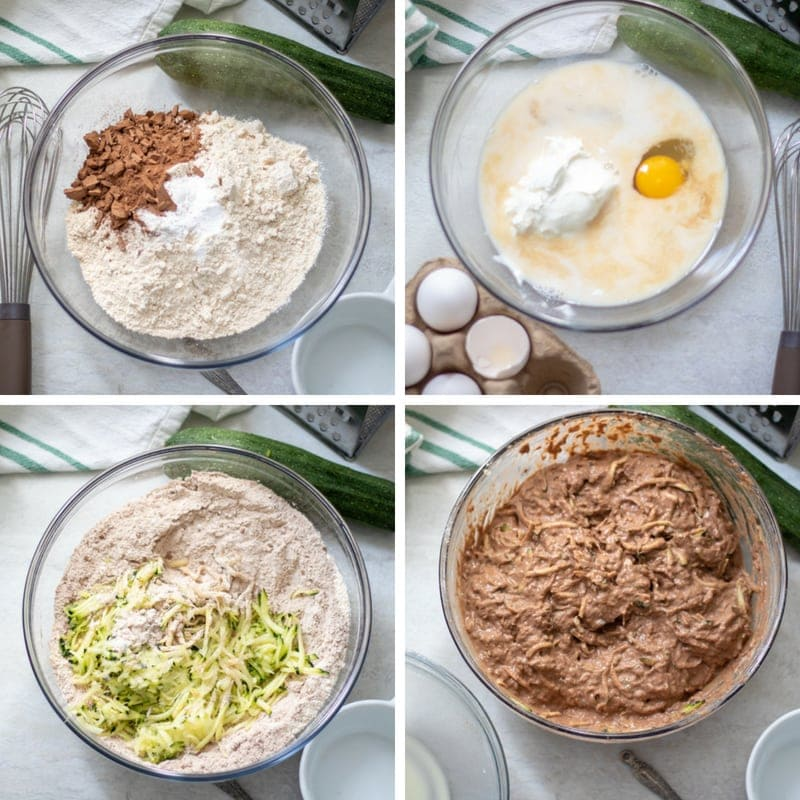 Step By Step pictures of making zucchini muffins