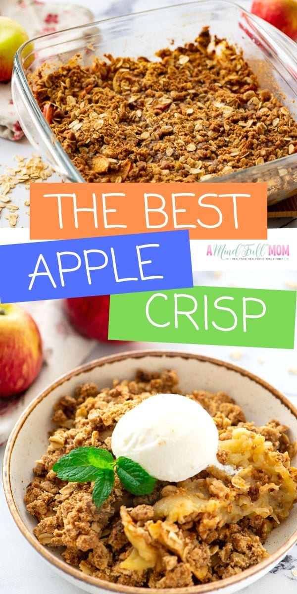 Simply the BEST easy Apple Crisp recipe. An old fashioned version of apple crisp that is made with sweet, tender apples and an oat topping. This Easy Apple Crisp Recipe is a MUST make fall dessert, but also makes a perfect Thanksgiving or Christmas Dessert.