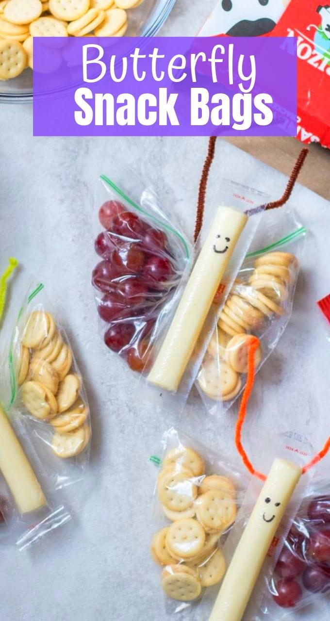 Butterfly Snack Bags are easy to make and make a great way addition to your child's lunch, or for a playdate snack.