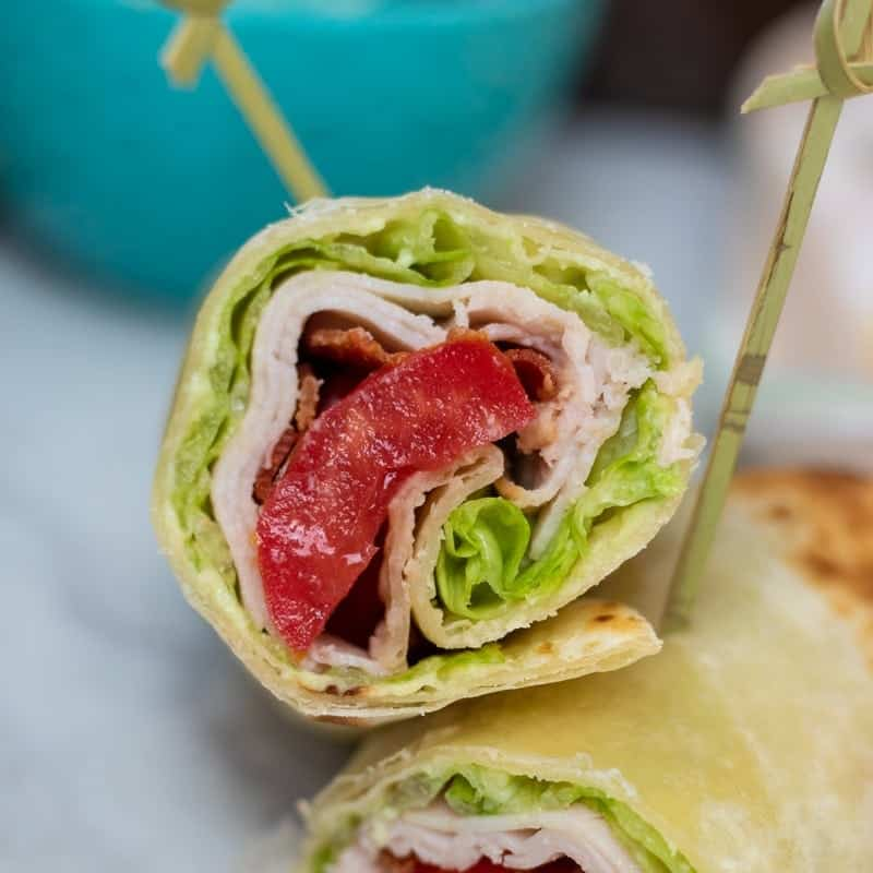 Turkey BLT Wrap cut open