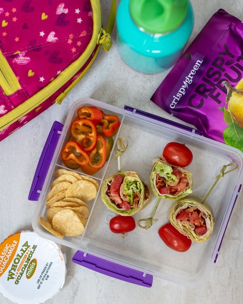 BLT Turkey Pinwheels packed in lunchbox with avocado