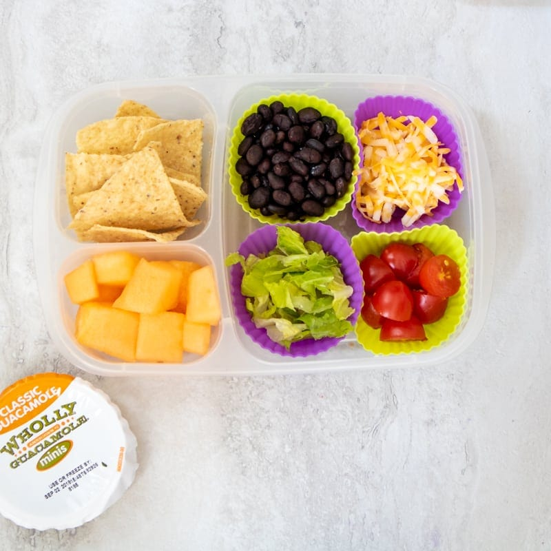 Lunch Box Filled with ingredients to make your own nachos