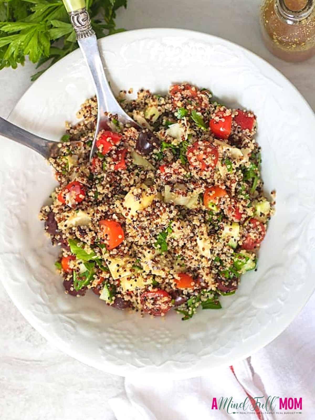 Bowl with Mediterranean Greek Quinoa Salad.