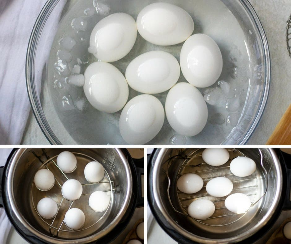 Collage of eggs in instant pot and ice bath