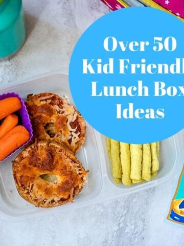 School Lunch with text overlay that reads Over 50 Kid Friendly Lunch Box Ideas
