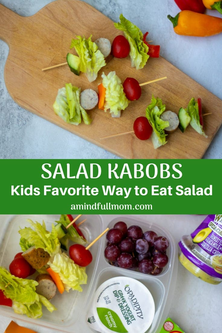 Salad Kabobs: Vegetables are skewered together along with lean protein, to create a salad on a stick. This kid friendly salad recipe entices kids of all ages to eat their veggies.#kidfriendly #salad #healthyrecipe #lunchbox