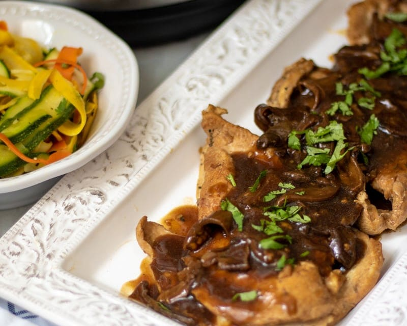 Pressure Cooker Chicken Marsala on White Platter