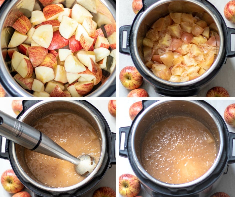 Pictures showing steps to making applesauce in pressure cooker