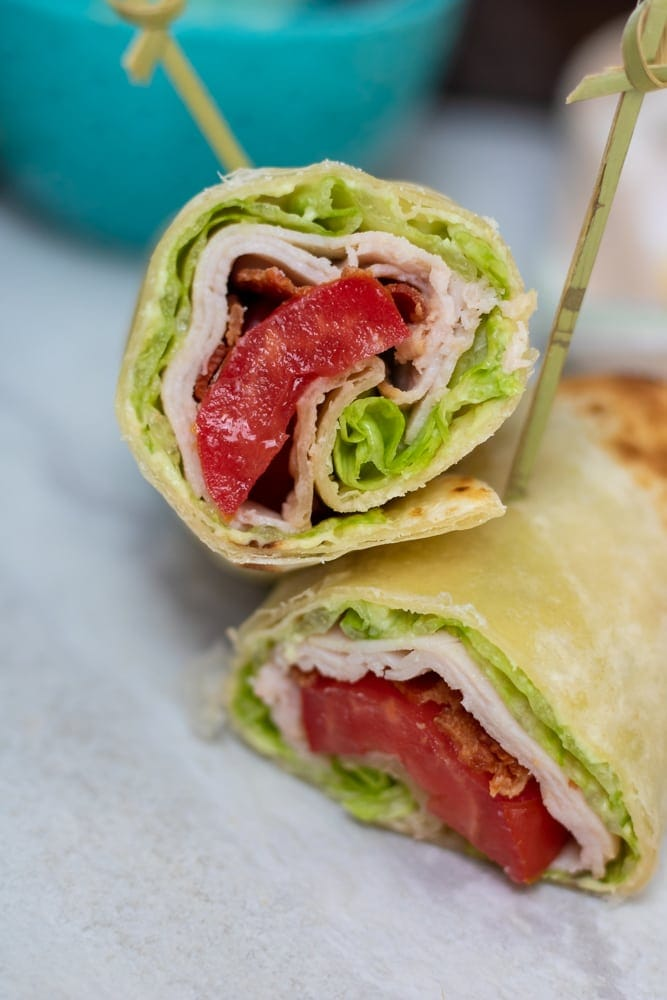 Turkey Wrap with tomatoes, bacon, lettuce and avocado