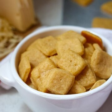 Bowl of homemade cheese crackers