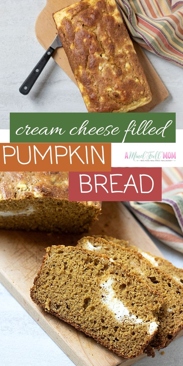 The BEST Healthy Pumpkin Bread EVER! Pumpkin bread gets a healthy makeover, with whole wheat flour and natural sweeteners. Finished with a cream cheese filling for an irresistible treat.  This Pumpkin Cream Cheese Bread is an absolute perfect fall quick bread.