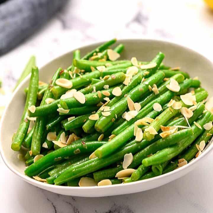 Sting Beans Almondine in white serving platter