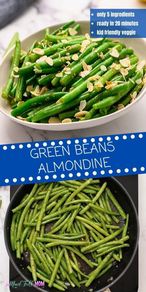 Green beans get dressed up with a simple lemon butter sauce and toasted almonds. This simple recipe for Green Beans Almondine comes together with minimal effort to make a healthy and flavorful side dish. Even picky eaters love this veggie side dish! Unlike most French recipes, this classic dish is uncomplicated and easy to make. It only requires 5 simple, easy to find ingredients and is ready in less than 20 minutes, making this recipe perfect for busy weeknights.