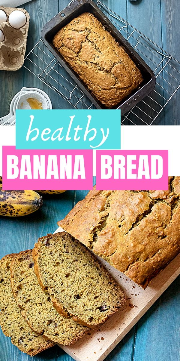 This healthy banana bread recipe is the BEST banana bread recipe ever! With a few ingredients and a minimal prep you will have delicious moist, banana bread made with whole wheat flour and naturally sweetened with honey.