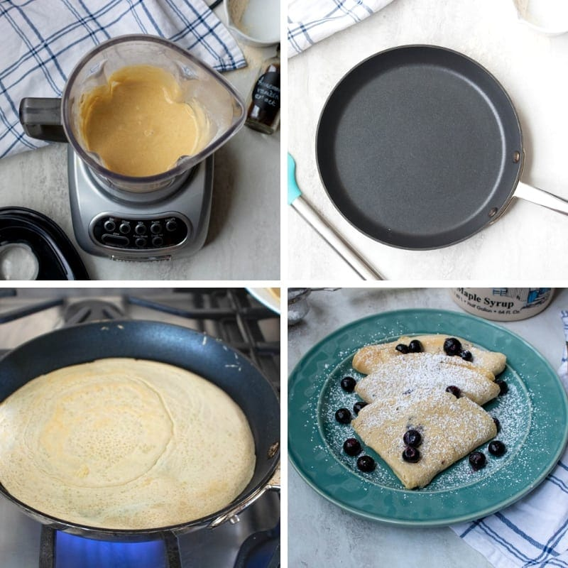 Step by step photos for homemade crepes