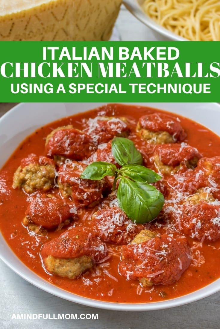 The absolute BEST baked chicken meatball recipe ever. Super moist and tender and delicious! These lightened-up Italian style chicken meatballs are made with Parmesan cheese, sauteed peppers, and onions, and baked using a special technique that keeps the meatballs tender and moist. #amindfullmom #chicken #meatballs #italian #groundchicken #bakedmeatballs