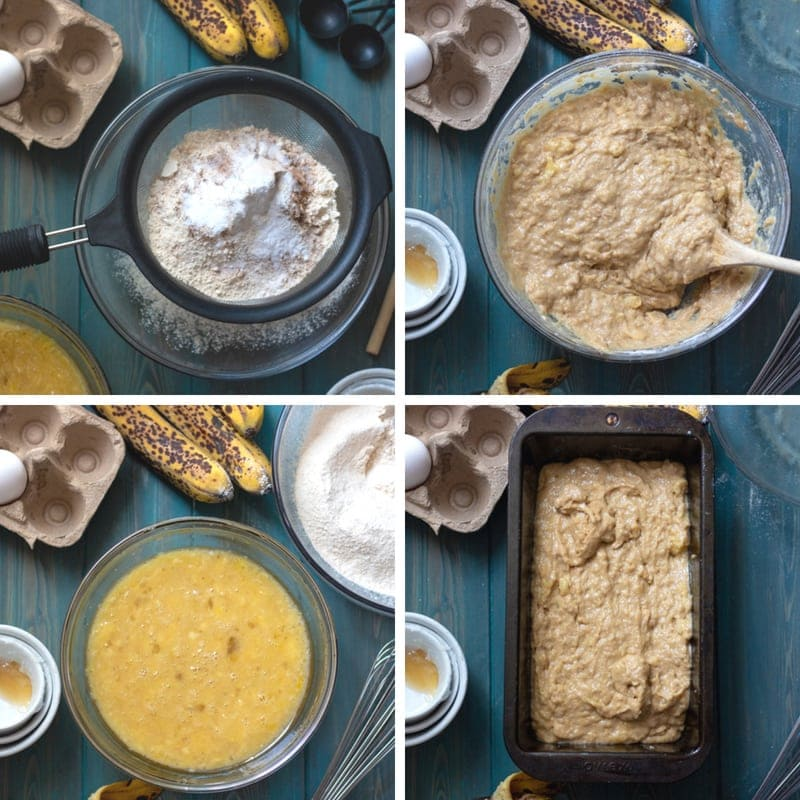 Step by step pictures of how to make whole wheat banana bread